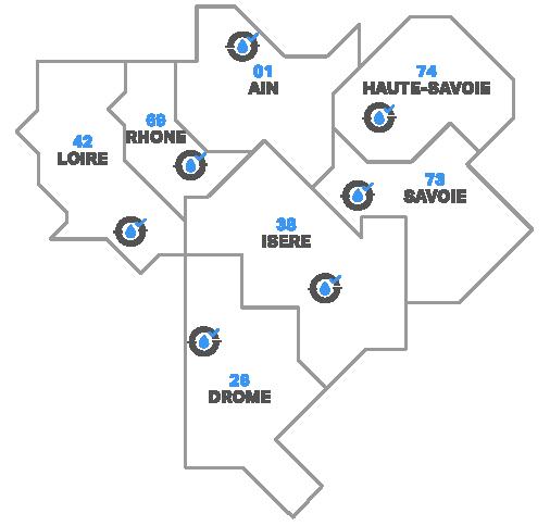 Carte des zones d'intervention de notre entreprise d'assainissement débouchage en Rhône-Alpes